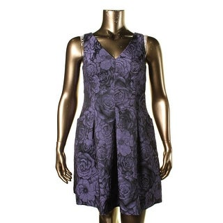 Lauren Ralph Lauren Womens Petites Jacquard Sleeveless Cocktail Dress - 14P
