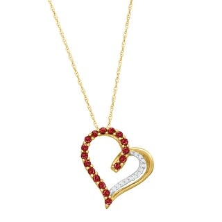 1/3 ct Created Ruby Heart Pendant Necklace with Diamonds in 14K Gold - Red
