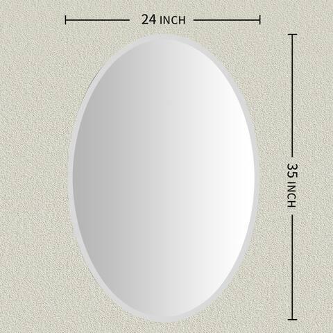 KOHROS Modern Oval Wall Mounted Bathroom Mirror