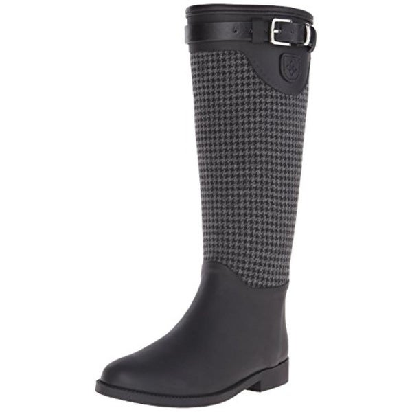 Dav Womens Weston Rain Boots Houndstooth Pull On