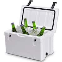 Costway Outdoor Insulated Fishing Hunting Cooler Ice Chest 40 Quart Heavy Duty - White