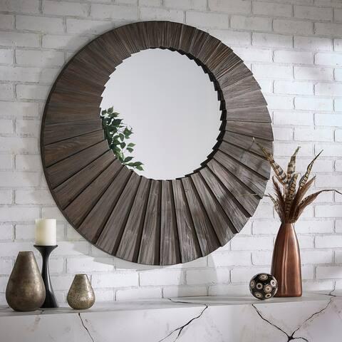 Xavier Dark Brown Reclaimed Wood Round Seashell Wall Mirror by iNSPIRE Q Modern
