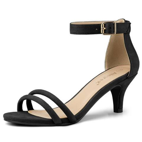 Women's Kitten Heel Ankle Strap Sandals