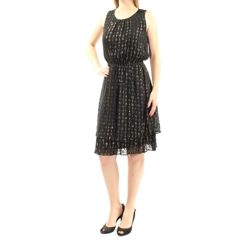 MAISON JULES $130 Womens New 1246 Black Printed Glitter Sleeveless Dress M B+B
