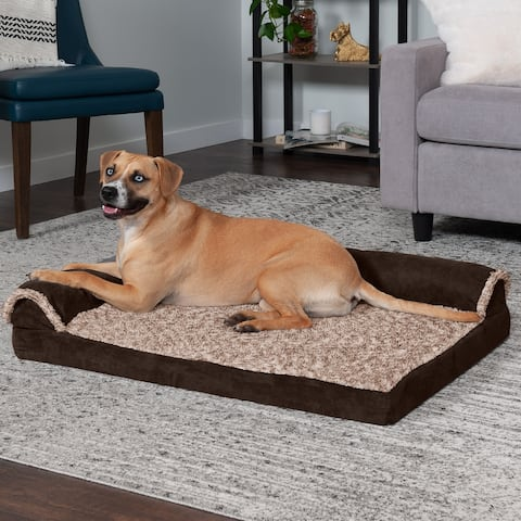 FurHaven Pet Bed Two-Tone Faux Fur & Suede Cooling Gel Deluxe Chaise Lounge Dog Bed