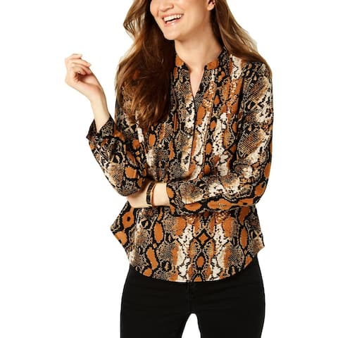 NY Collection Womens Petites Henley Top Snake Print Utility