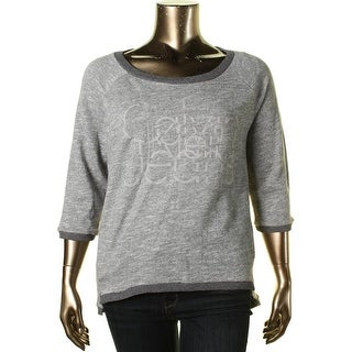 Calvin Klein Jeans Womens Graphic Heathered Pullover Top