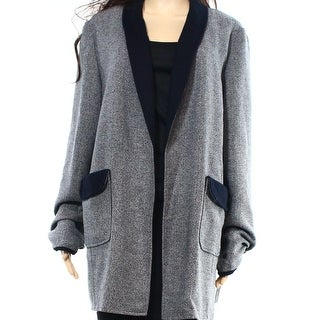 Tahari by ASL NEW Gray Black Womens Size 16 Marled Open-Front Jacket