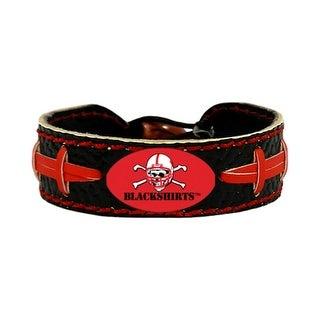 Nebraska Cornhuskers Blackshirts Team Color NCAA Gamewear Leather Football Bracelet