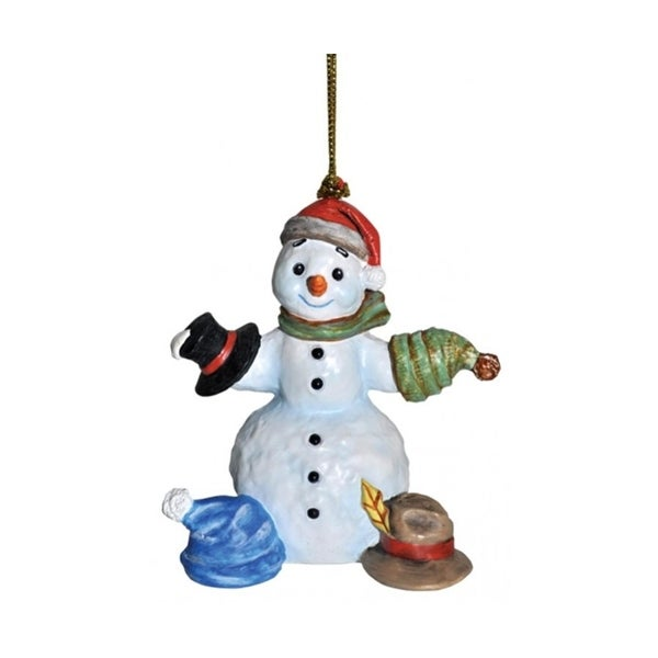 """3"""" Snowfall Valley What Should I Wear Today Snowman with Hats Christmas Ornament - WHITE"""