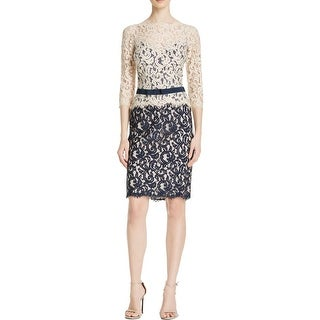Tadashi Shoji Womens Petites Cocktail Dress Lace Colorblock