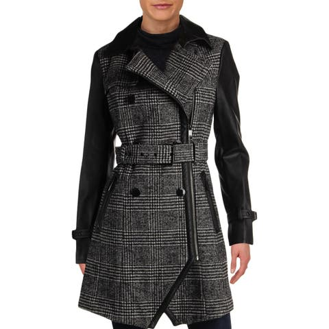 Guess Womens Midi Coat Winter Wool Blend