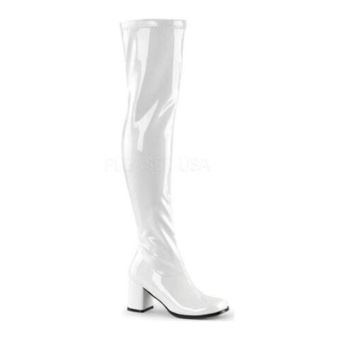 Funtasma Women's Gogo 3000 Thigh High Boot White Stretch Patent