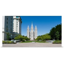 Poster Print entitled Facade of a church, Mormon Temple, Temple Square, Salt Lake City, Utah