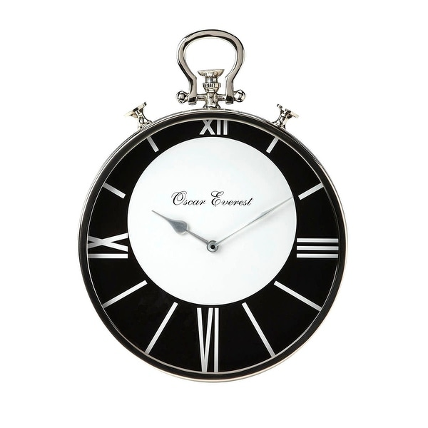 Offex Modern Round Stainless Steel and Aluminum Wall Clock - Silver