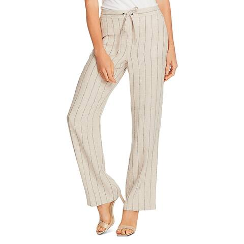 Vince Camuto Womens Wide Leg Pants Linen Blend Striped - Light Stone