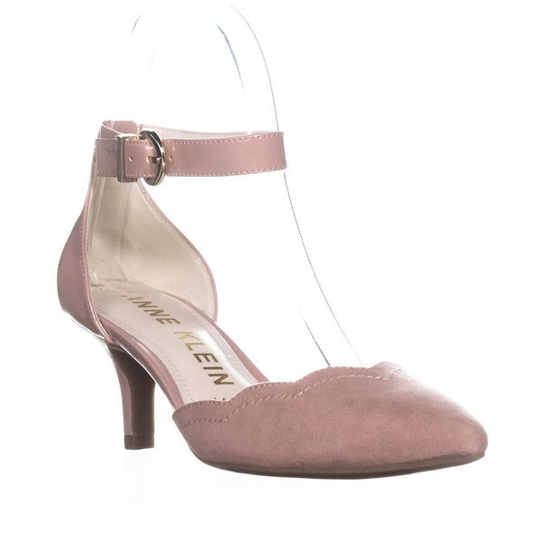 Anne Klein Findaway Pointed Toe Ankle Strap Pumps, Light Pink/Light Pink