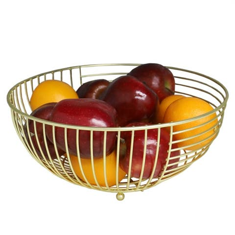 Halo Large Capacity Steel Fruit Bowl, Gold