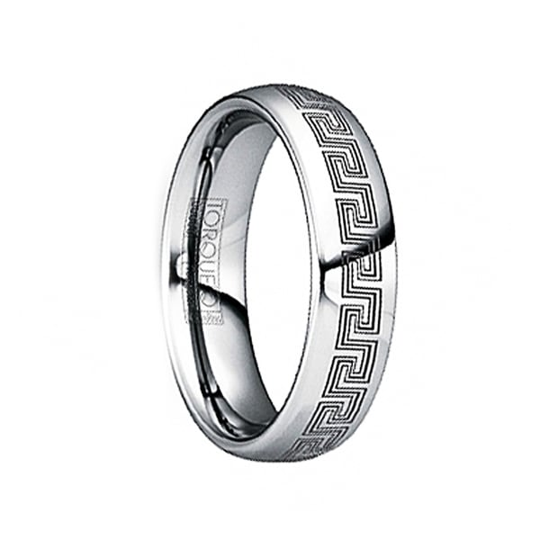 LIVIANUS Black Engraved Greek Key Tungsten Ring with Polished Finish by Crown Ring - 6mm