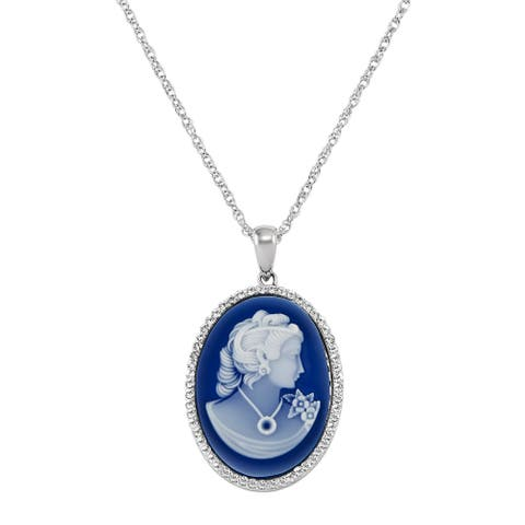 Lady Cameo with Crystals in Sterling Silver, 18 Inches - White