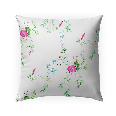 FLORAL WHITE Indoor-Outdoor Pillow By Anne Cote