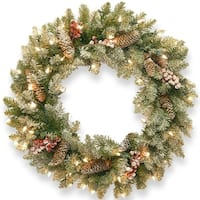 Pre-Lit Dunhill Fir Artificial Christmas Wreath with Red Berries – 24-Inch Clear Lights - green