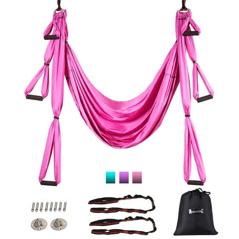 Giantex Aerial Yoga Swing Set Anti-Gravity Yoga Shaping Adjustable Handle Length PurpleBluePink