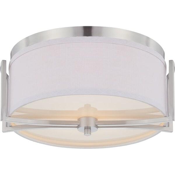 "Nuvo Lighting 60/4761 Gemini 2 Light 14-3/4"" Wide Flush Mount Drum Ceiling Fixture"