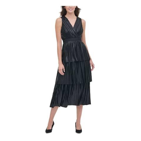 TOMMY HILFIGER Black Sleeveless Tea-Length Dress 12
