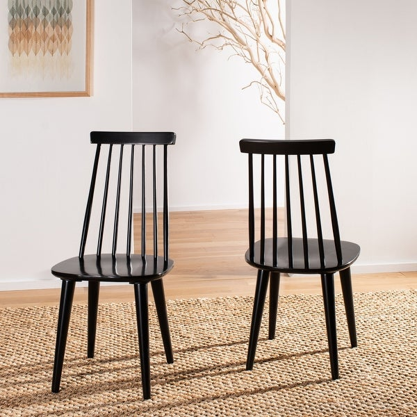 "Safavieh Country Classic Dining Burris Black Dining Chairs (Set of 2) - 17.3"" x 20.7"" x 36"". Opens flyout."