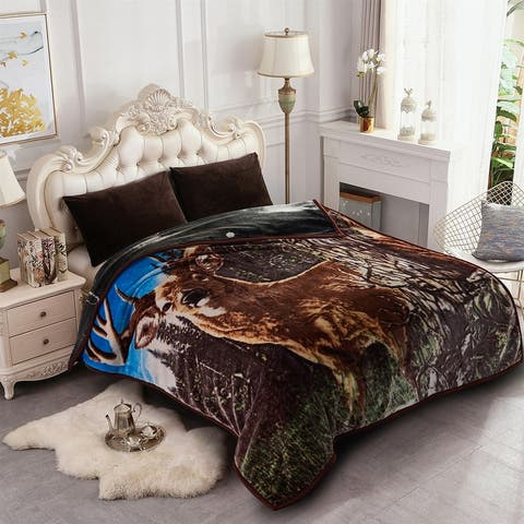 2 Ply A&B Printed Raschel Bed Blanket Korean Style Mink Blanket