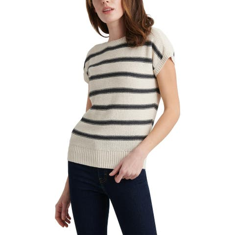 Lucky Brand Womens Pullover Sweater Striped Crew Neck - Natural Multi - XS