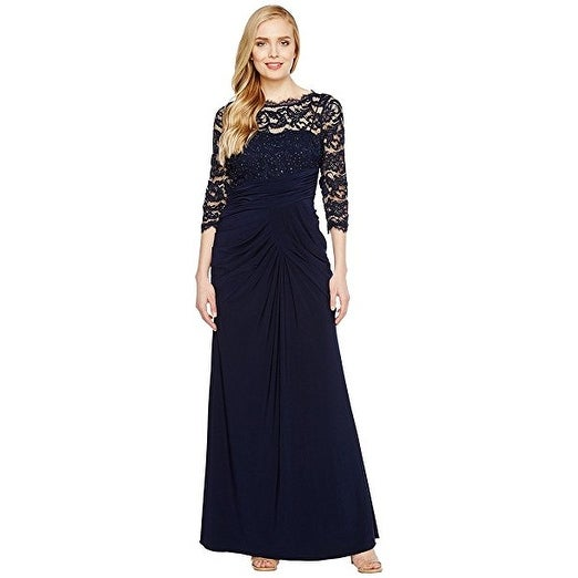 Adrianna Papell Women\'s Lace and Draped Jersey Gown, Midnight, 12 ...