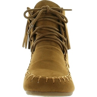 Static Footwear Link Candice-21K Children Girl's Comfort Lace Up Fringe Ankle Booties