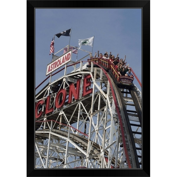 """Cyclone rollercoaster at Coney Island, Brooklyn, NYC"" Black Framed Print"