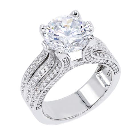 4.5 ct Round-Cut Cubic Zirconia Solitaire Ring, Sterling Silver