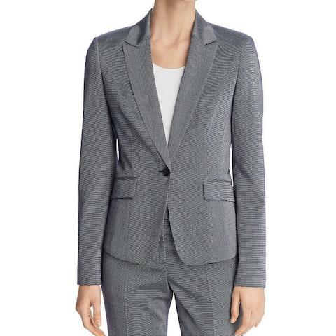 Boss Hugo Boss Gray Women Size 12 Wool Two Pocket One Button Blazer