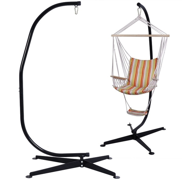 Costway C Hammock Frame Stand Solid Steel Construction - Black