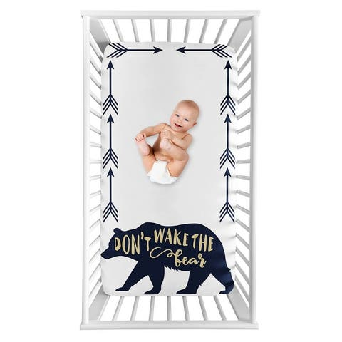 Woodland Forest Big Bear Collection Boy Photo Op Fitted Crib Sheet - Navy Blue and Gold Arrow