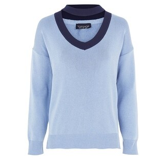 Topshop Womens Two-Tone Chocker-Neck Pullover Sweater