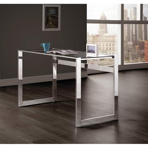 Strick & Bolton Cruz Chrome/ Tempered Glass Writing Desk