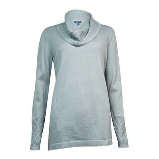 JM Collection Women's Metallic Lattice-Knit Cowl Sweater