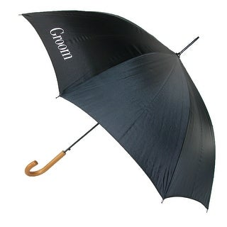 ShedRain Men's Groom Wedding Stick Umbrella with Hook Handle - Black - One Size