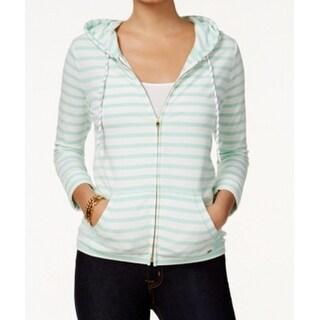 Tommy Hilfiger NEW Green White Striped Women's Medium M Hooded Jacket