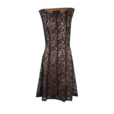 Connected Women's Petite Lace Fit & Flare Lace Dress