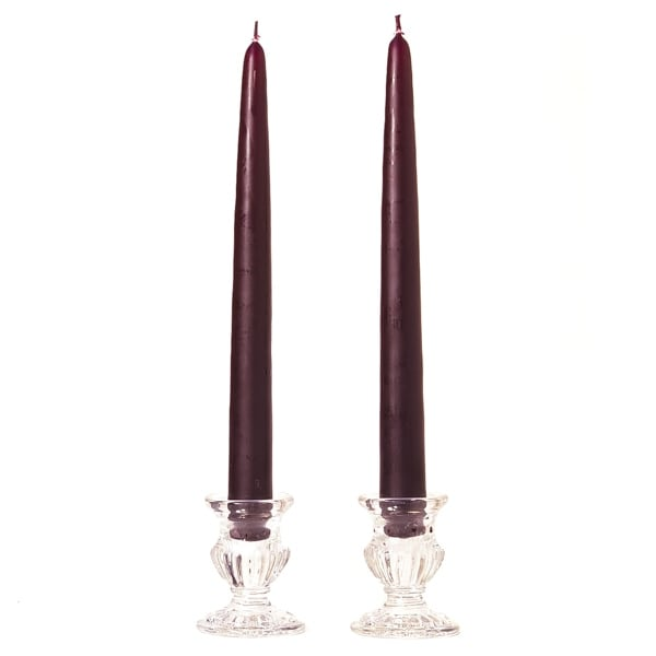 1 Pair Taper Candles Unscented 6 Inch Plum Tapers .88 in. diameter x 6 in. tall