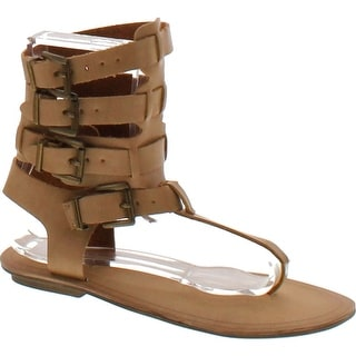 Liliana Avis-3 Women Leatherette Strappy T-Strap Gladiator Thong Sandal - Nude