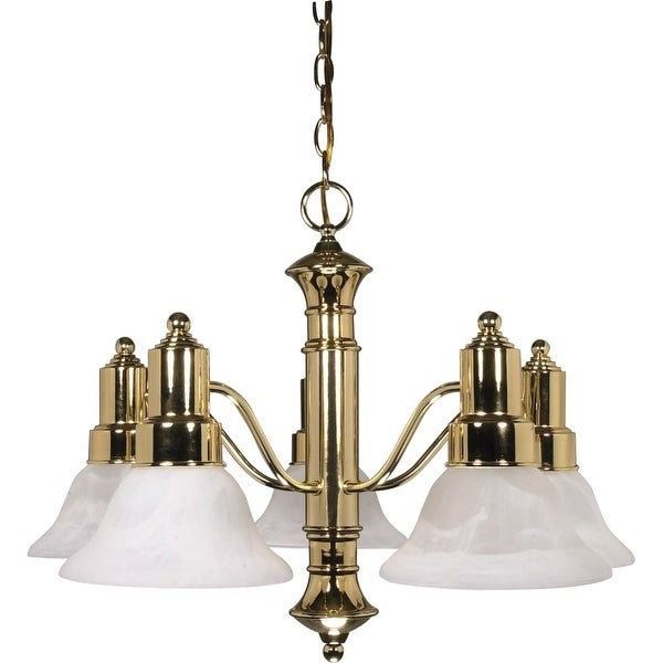 "Nuvo Lighting 60/193 Gotham 5 Light 24-1/2"" Wide Chandelier - Polished brass"