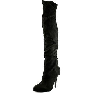 Nina Kymari Women Round Toe Suede Black Over the Knee Boot
