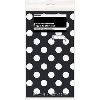 "Plastic Tablecover 54""X108""-Midnight Black Decorative Dots"